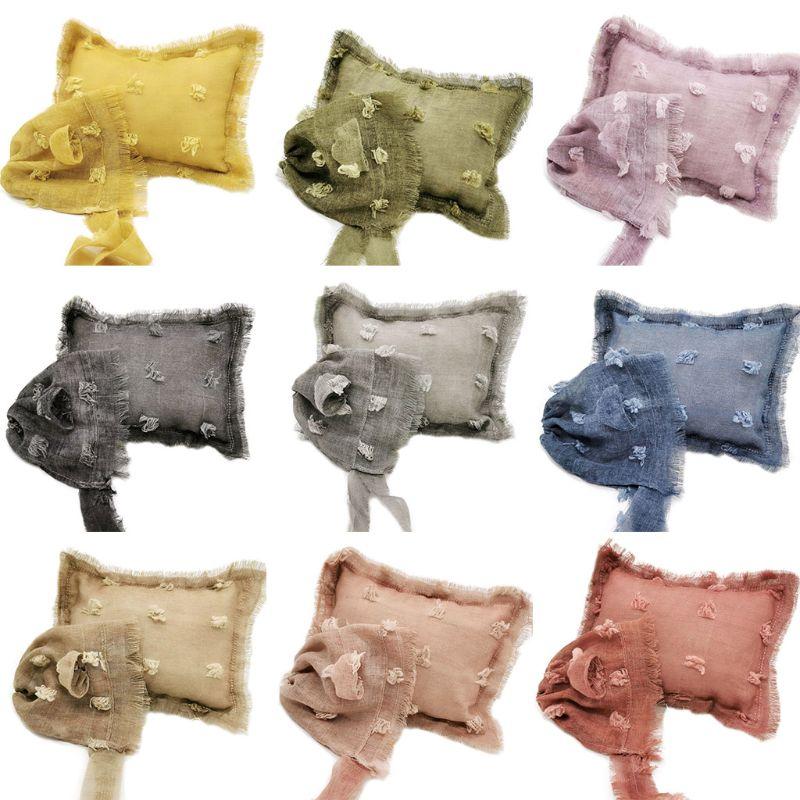 2 Pcs/set Baby Infants Photo Accessories Tie-dyed Cotton Linen Hat Pillow Set Newborn Photography Props U50F