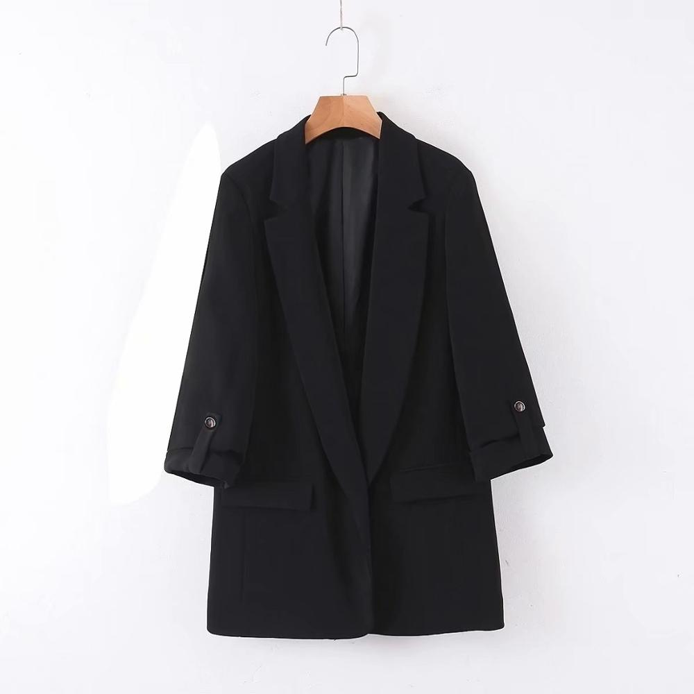 2020 Women Leisure Roll Up Sleeve Design Blazer Notched Collar Open Stitch Long Sleeve Female Causal Stylish Outwear Coats CT382