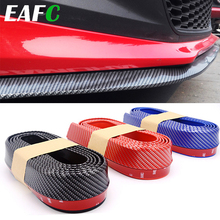 2.5m Car Bumper Lip Strip Protectors Splitter Body Kits Spoiler Bumpers Car Door Bumper Carbon Fiber Rubber Lip 65mm Width Strip