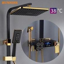 Digital Shower Set Luxury Black Gold Thermostatic Shower System Rainfall Spa Shower Head Brass Bathtub Faucet Digital Shower Set