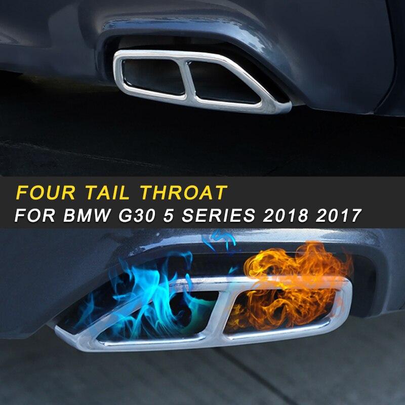 Tuyaux d'échappement d'échappement silencieux cadre couvercle garniture autocollant extérieur accessoire pour BMW G30 5 Series 2018 2017 voiture style