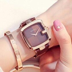 GUOU Relógios das Mulheres 2019 Fashion Square zegarek damski Ladies Luxury Pulseira Relógios Para As Mulheres Pulseira de Couro Relógio Saati