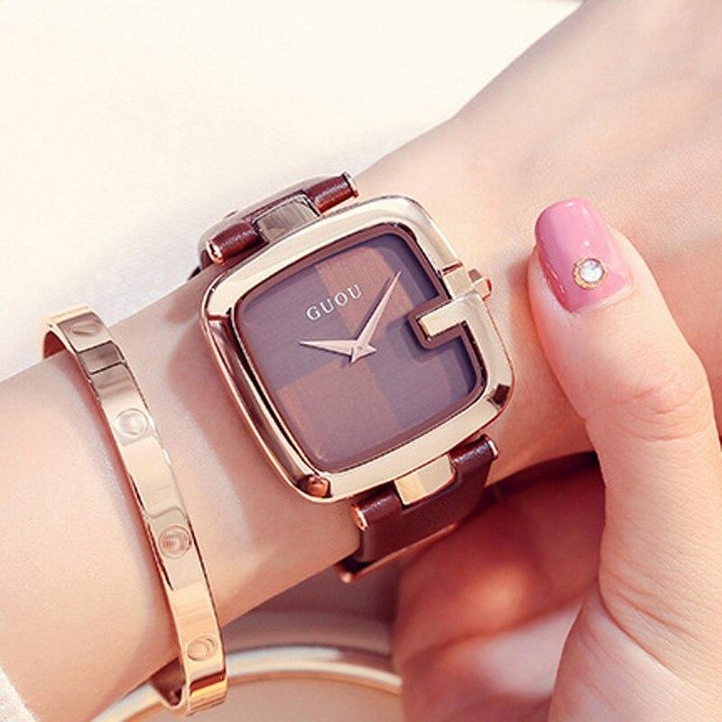 GUOU Women's Watches 2019 Square Fashion zegarek damski Luxury Ladies Bracelet Watches For Women Leather Strap Clock Saati