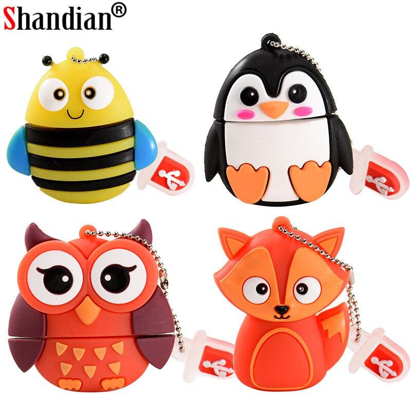 SHANDIAN HOT! Cute Mini Cartoon Penguin Owl Pen Drive Usb Flash Drive Pendrive 4 GB/8 GB/16 GB/32 GB Usb Stick
