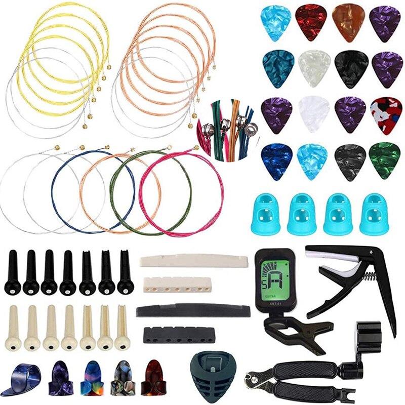 65 шт. инструмент для настройки гитары, набор для смены струн, инструмент для намотки и резак, тюнер, аксессуары, набор струн, держатель s, держ...