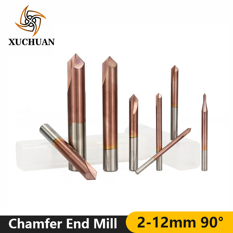 1pc 90 Degrees 2-12mm Chamfer End Mill TiCN Coated Chamfer Milling Cutter 2 Flutes CNC Router Bit Carbide End Mill
