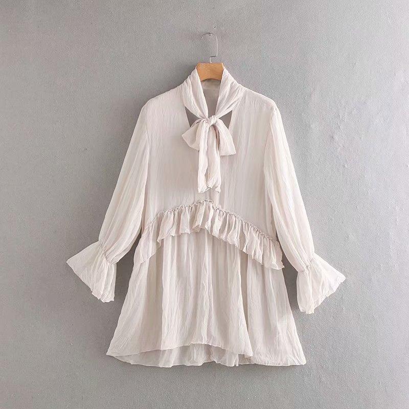 2019 New Women Elegant Bow Collar Cascading Ruffles Long Blouse Shirt Women Casual Chemise Chic Feminina Blusas Tops LS4002
