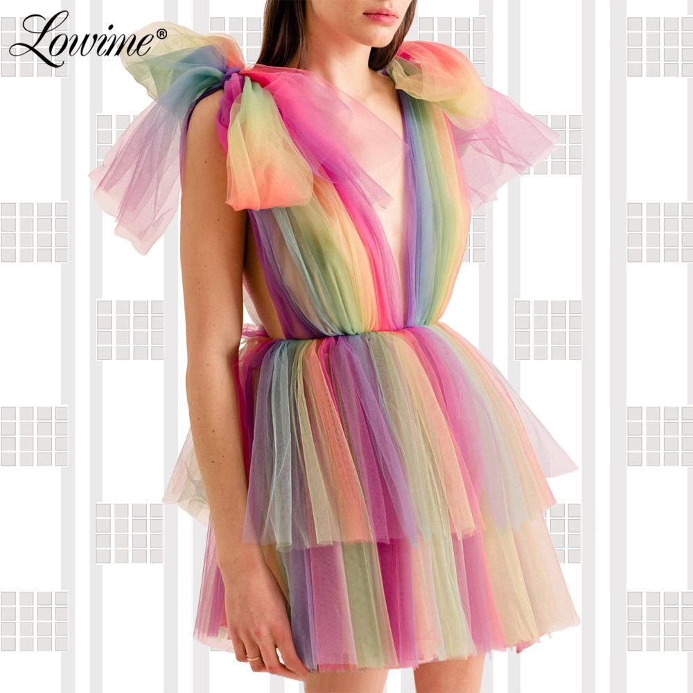 Rainbow Mini Cocktail Dreses Deep V Neck Sexy Party Gowns 2019 Vestidos De Coctel Custom Robe Cocktail Homecoming Dress Newest