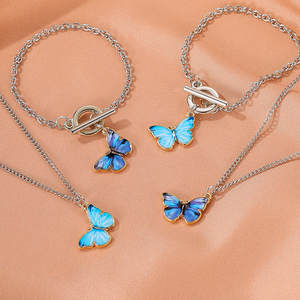 Pendant Necklace Jewelry-Accessories Choker Blue Butterfly Purple Titanium Women Vintage