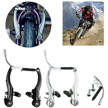 лучшая цена High Quality Aluminum Alloy V Brake Bicycle Cycling Curved Rods Bike Brakes Full Set Professional Bicycle Parts Rods Bike Brakes