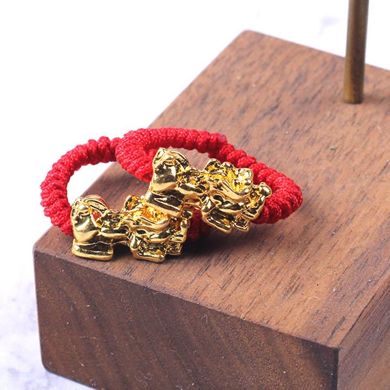 Lucky Red Rope Woven <font><b>Ring</b></font> Golden Brave Troops Amulet <font><b>Ring</b></font> <font><b>Buddhist</b></font> Jewelry NIN668 image