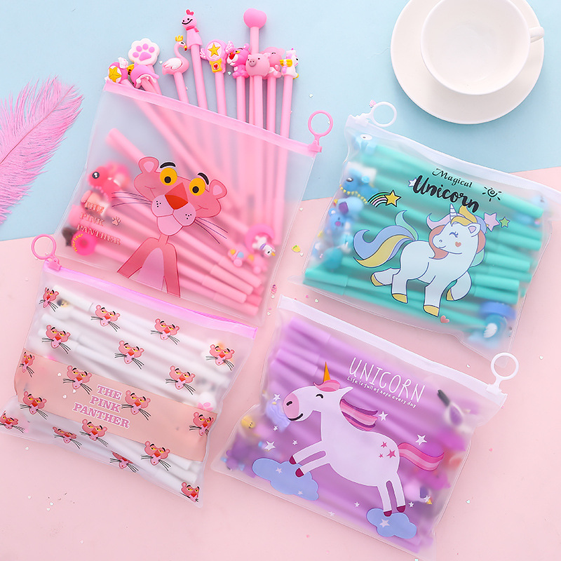 20 Piece Cute Anime Animal Gel Pen Children Learning Office Plastic Unicorn Pencil Case Wholesale  Kawaii Stationery