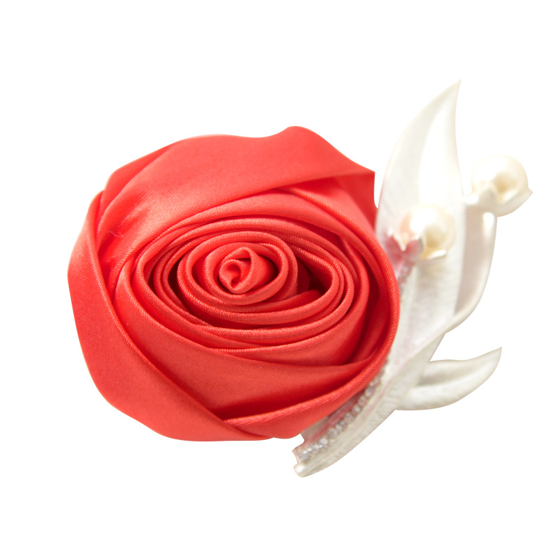 Silk Boutonniere Wedding Corsage Brooch Rose Pearl Boutonnieres For Guests Groomsmen Groom Accessoire Mariage Wedding Witness