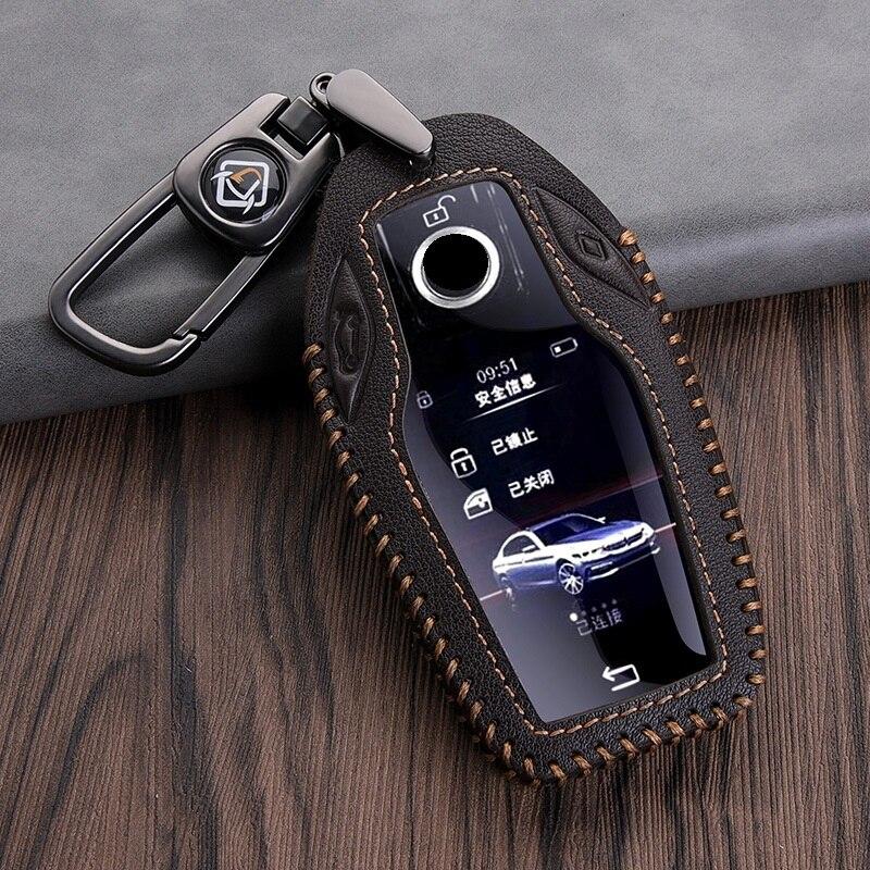 Чехол для ключей из натуральной кожи, Чехол для автомобильного светодиодный Ча с ЖК-дисплеем, для BMW 5, 7 серии, G11, G12, G30, G31, G32, i8, I12, I15, G01, X3, G02, X4, ...