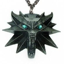 Волшебник, школа, Зеленый Кристалл, голова волка, медальон, кулон, ожерелье, дикий охотник на монстров, косплей, игры, животное, волк, цепочка, ожерелье
