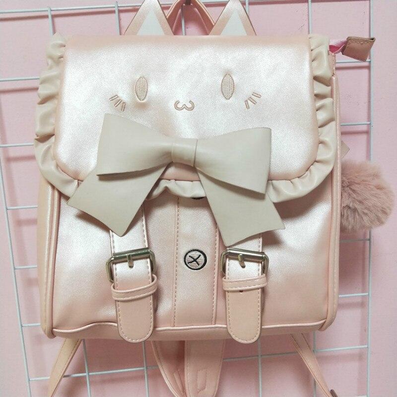 Girl's backpack, bow, double-shoulder bag, cute, cute, bag, backpack, waterproof, backpack.
