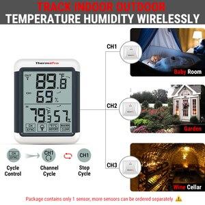 Image 3 - Thermopro tp65a 100m higrômetro digital sem fio ao ar livre temperatura umidade monitor de luz preta tela sensível ao toque estação meteorológica