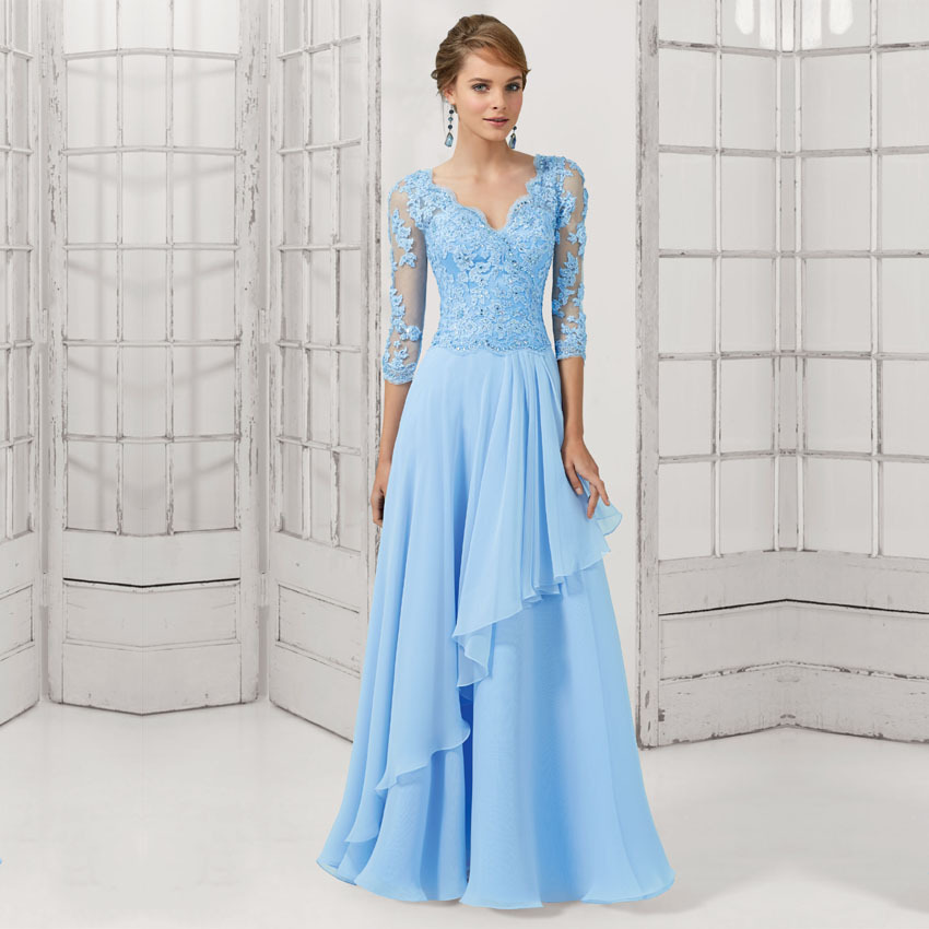 Vestidos De Festa 2018 Long Evening Gown Women Elegant Blue Lace Long Sleeve 2015 Formal Party Mother Of The Bride Dresses