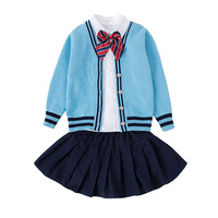 Primary School Long Sleeves Knitted Sweater Cotton Uniformes Estudiantes Japanese Style Sailor Costume
