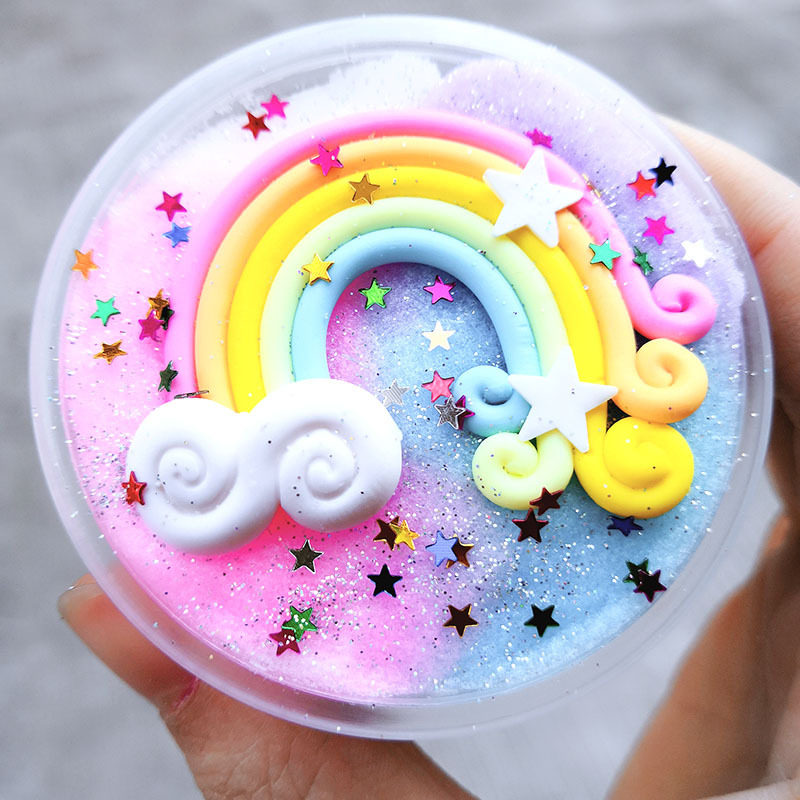 2020 New Rainbow Slime Clay Toy Fluffy Polymer Anti Stress Charms Cotton Mud Plasticine Supplies Cloud Slime Kids Toys Lizun