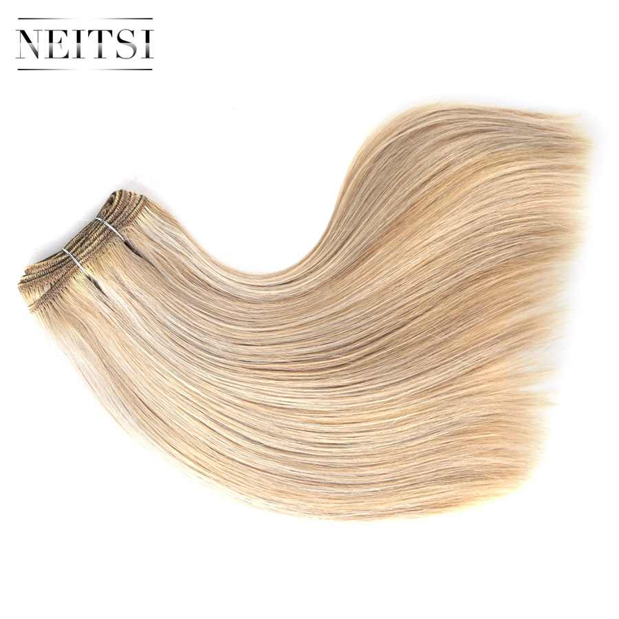 "Neitsi Recht Dubbel Getrokken Remy Human Hair Extensions 12 ""110 g/stk P27/613 # P18/613 # piano Gekleurde Echt Haar Inslag Bundels"