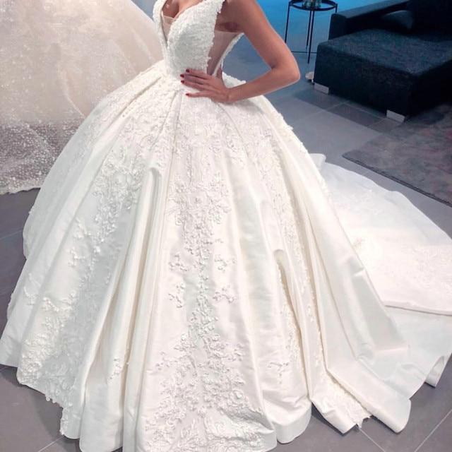 Роскошное Свадебное платье, бальное платье, пушистое атласное кружевное платье с аппликацией из бисера, новый дизайн 2020, свадебное платье на заказ SH22