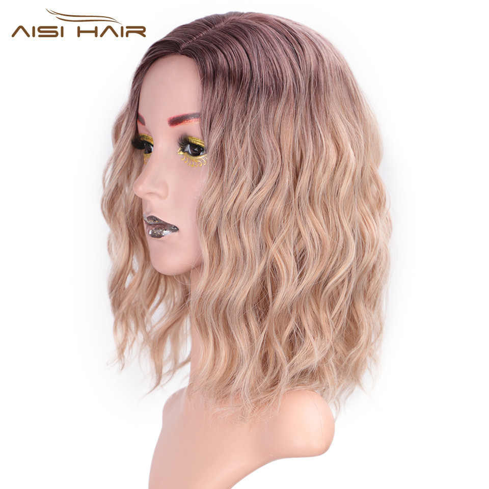 I's a wig 14'' Short Water Wave Synthetic Wigs Mixed Brown and Blonde Hair for White /Black Women can be Cosplay Bob Wig