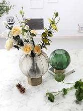 Nordic glass vase home decoration golden base vase flower arrangement decoration living room bedroom creative vase цена 2017
