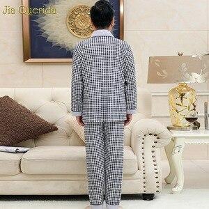 Image 2 - Pyjama Men Chinese Pajamas Button Cardigan Long Sleeve Nightwear Plaid Lapel Home Clothing 100% Cotton Plus Size 5xl Man Big Set