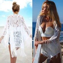 Для женщин бикини топы Летняя Пляжная блузка Кружевная туника