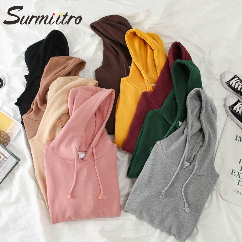 Surmiitro Solid Color Hoodies Women For Autumn 2019 Korean Kpop Ladies Long Sleeve Hooded Sweatshirt Female Pullover Red Black