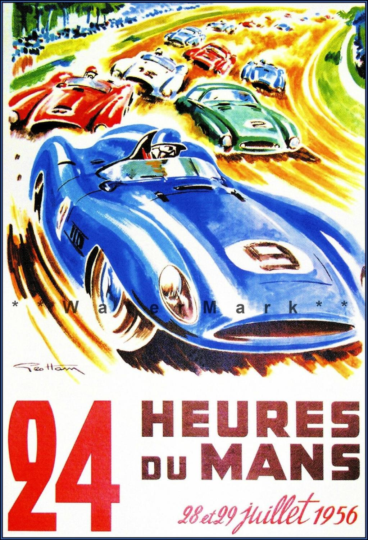 Cars Le Mans Racing Framed Canvas Art Print Poster Man Cave Retro Vintage