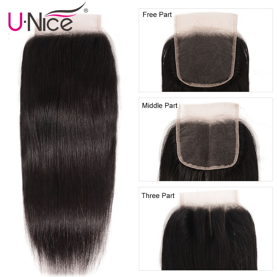 "Image 2 - UNice Hair Brazilian Straight Hair Closure Free &Middle &Three Part Remy Human Hair Lace Closure Swiss Lace 4""x4"" 1 Piece-in Closures from Hair Extensions & Wigs"