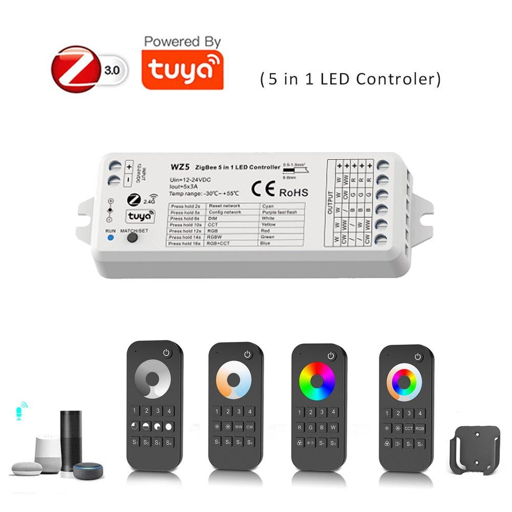 TUYA Zigbee akıllı Led denetleyici DC12V 24V DIM RGB RGBW RGBWW RGBCW RGBCCT şerit 2.4G RF uzaktan kumanda Google echo Plus ses kontrolü