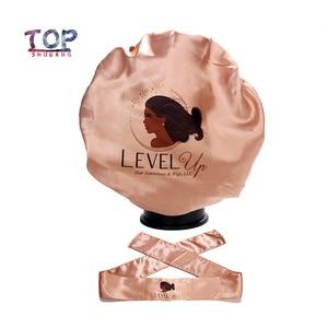 Customized Logo Rose gold Satin Wraps Headband /Silk Sleep Protect Cap Bonnet For Virgin Hair Extension Wigs(China)