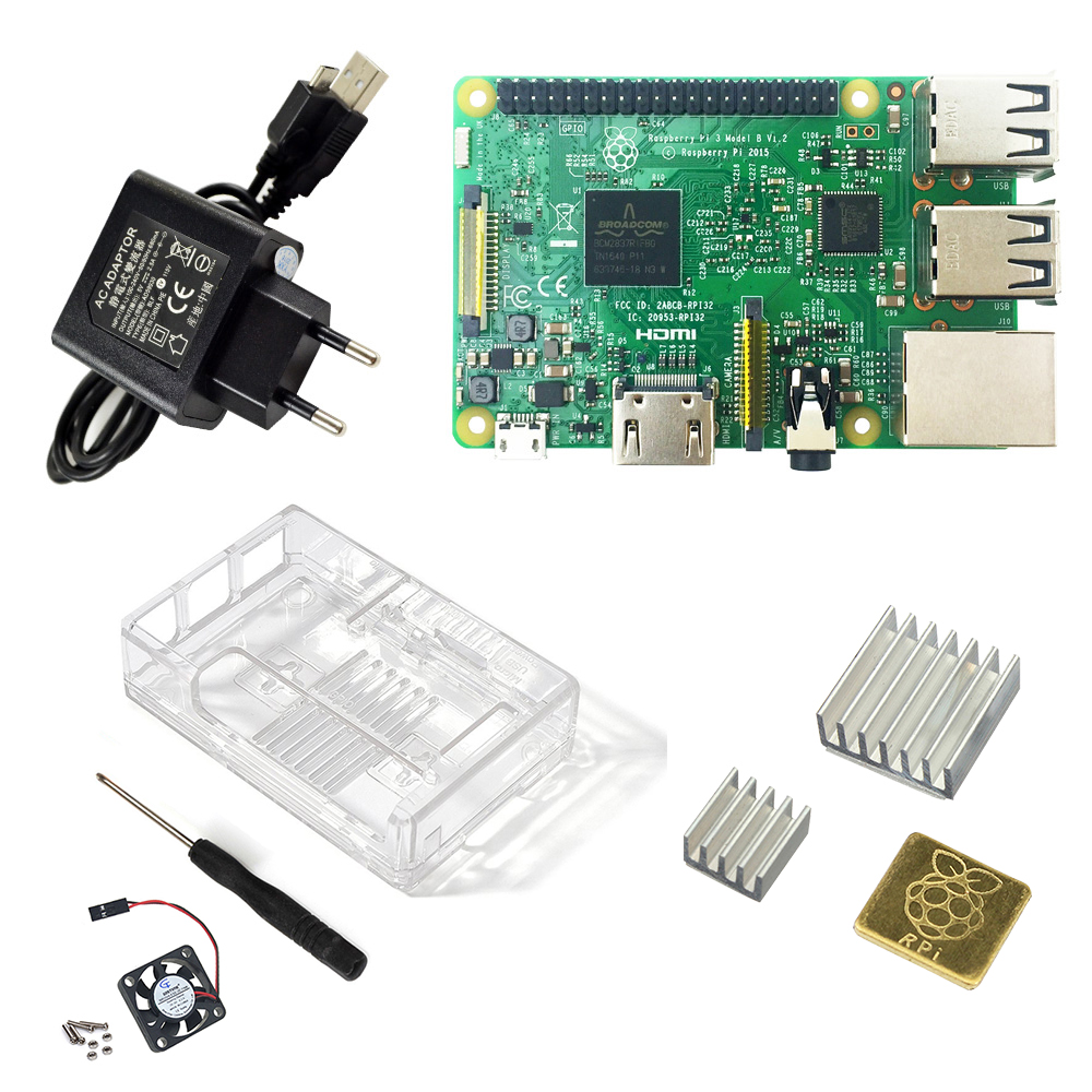 <font><b>Raspberry</b></font> Pi 3 Model <font><b>B</b></font> starter kit-pi 3 board / pi 3 case / EU power plug/with logo Heatsinks <font><b>pi3</b></font> <font><b>b</b></font>/pi 3b with wifi bluetooth image