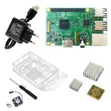 Raspberry pi 3 modelo b starter kit-pi 3 placa com caso e plugue de alimentação da ue com logotipo dissipadores de calor pi3 b/pi 3b com wifi bluetooth