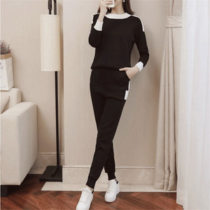 Image 4 - CBAFU outono inverno mulheres treino manga comprida camisola calças terno calças de malha terno tricô P397 conjunto elástico na cintura das mulheres