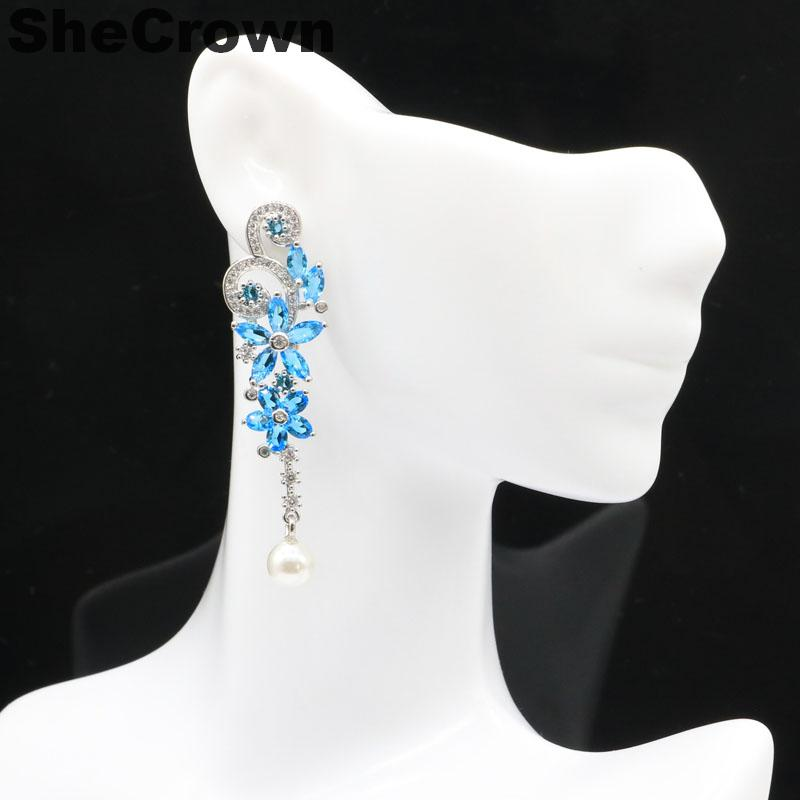 57x15mm Hot Sell White Pearl Flowers Shape Paris Blue Topaz CZ Silver Earrings