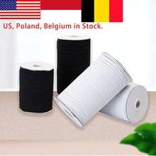 250 metre 3mm 6mm elastik bant maskeleri beyaz siyah 3mm-12mm yüksek elastik düz dikiş bant bel bantları Elastique Couture maske