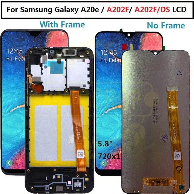 Dành Cho Samsung Galaxy SAMSUNG Galaxy A20e A202 A202F A202DS Màn Hình Bộ Số Hóa Cảm Ứng A202 A202F/DS Cho Samsung A20e Màn Hình LCD có Khung