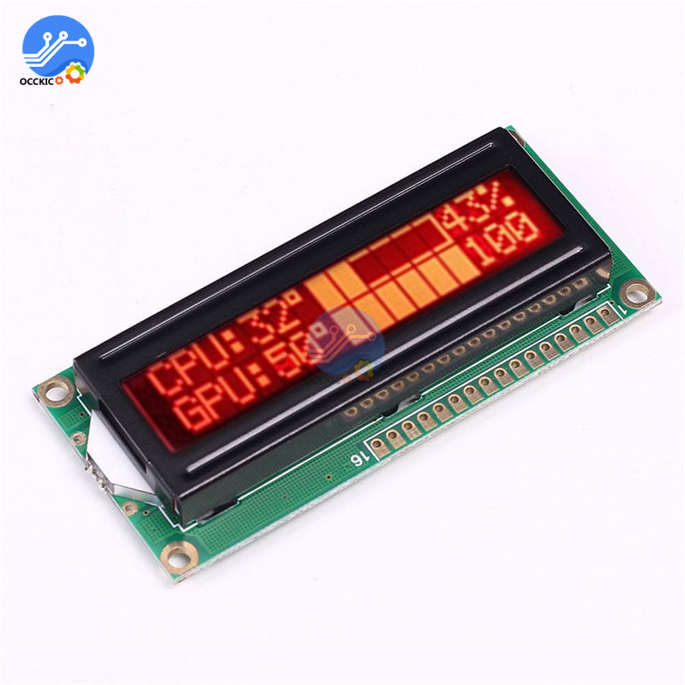 1602A Screen LCD Display Module 5V 16x2 Red Character Dot Black Background Parallel Port LCD Controller Module