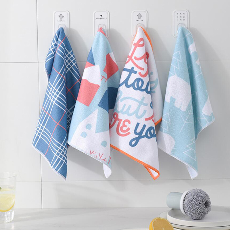 4Pcs/set Super Absorbent Microfiber Cleaning Cloth Kitchen Dish Cloth Towel Household Scouring Pad Rags Cleaning Towel