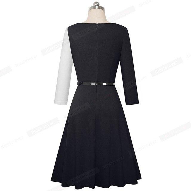 Nice-forever 1950s Retro Contrast Color Patchwork Winter vestidos Business Party Flare A-Line Women Swing Elegant Dress A178 2