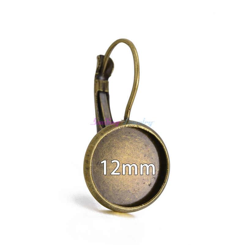 50 piezas 8mm-25mm camafeo cristal cabujón antiguo bronce plateado francés palanca bisel en blanco pendientes espalda base para pendientes DIY