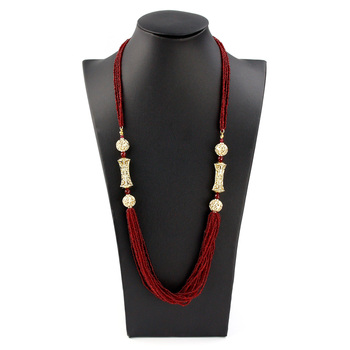 Sunspicems 2021 Morocco Wedding Jewelry Long Beads Necklace For Women Handmade Natural Stone Gold Color Caftan Bijoux Bride Gift 1