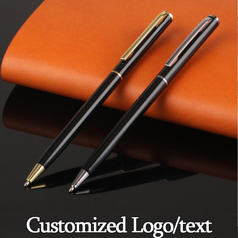 1.0mm Exquisite Brief Metal Ballpoint Pen Rotating Pocket-size Pen Portable Ball Point Pen Small Oil Pen Customized Logo Gift