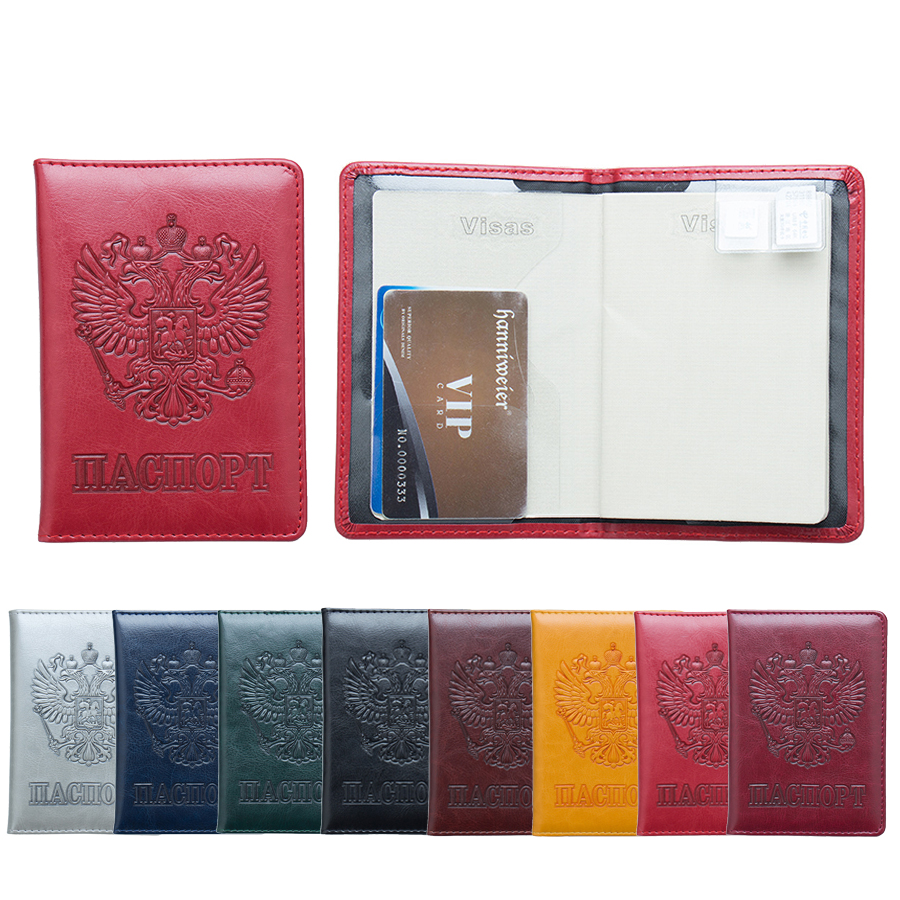 3D Embosssing National Emblem Russian Passport Cover Cards Holder Travel Accessories Emblem Passport Cover ZS01