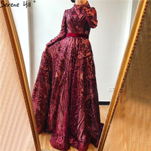 Muslim High Neck  Wine Red Sparkle Evening Dresses 2020 Long Sleeve Sequined Luxury A Line Evening Gowns LA70530