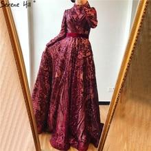 מוסלמי גבוהה צוואר יין אדום Sparkle ערב שמלות 2020 ארוך שרוול נצנצים יוקרה ליין LA70530